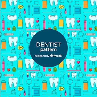 Patrón elementos dentista planos