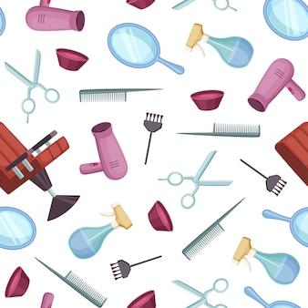 Patrón de elementos de dibujos animados color peluquero barbero color