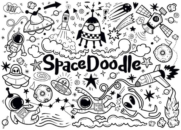 Patrón de elementos de espacio dibujado a mano
