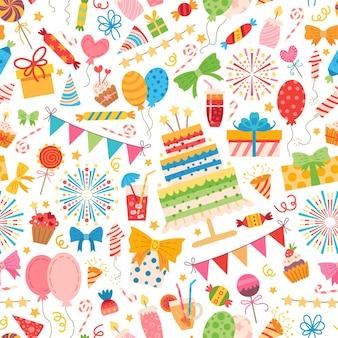 Patrón de elementos de fiesta infantil. para una fiesta de cumpleaños.