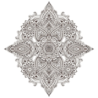Patrón de elementos florales de henna basados en adornos tradicionales asiáticos.
