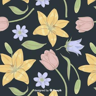 Patrón de elementos florales vintage