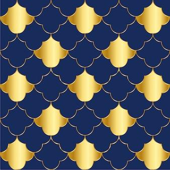 Patrón de elementos geométricos de lujo dorado