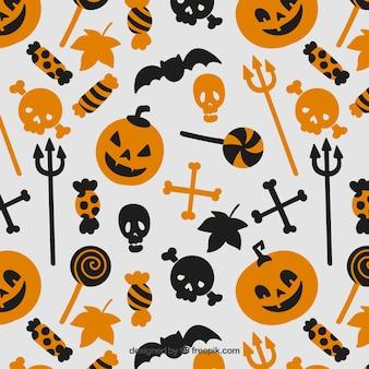 Patrón de elementos de halloween en colores naranja y negro