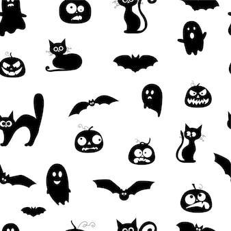 Patrón de elementos de halloween de fantasmas, calabazas, gatos negros, silueta negra de murciélagos sobre un fondo blanco. ilustración vectorial