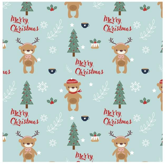 Patrón con elementos de oso, árbol y navidad.