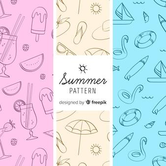Patrón elementos de verano coloridos