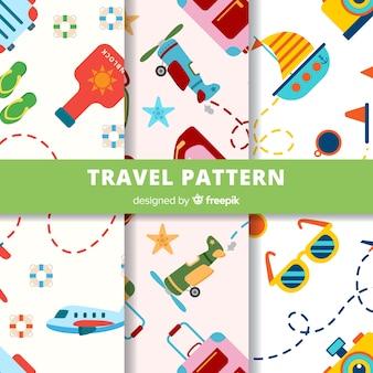 Patrón elementos viaje coloridos