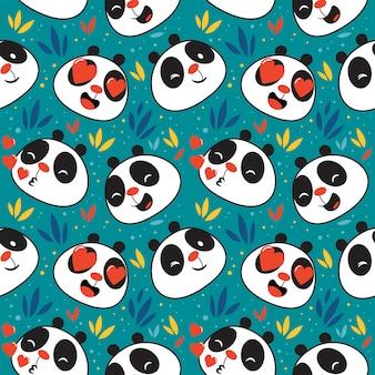 Patrón de emoticon lindo panda sin costura