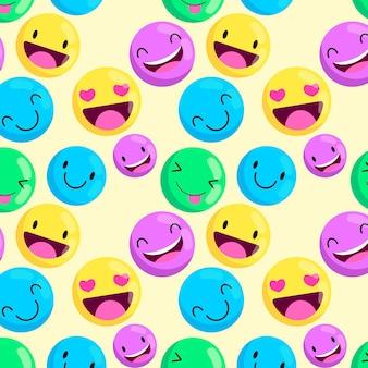 Patrón de emoticonos coloridos creativos