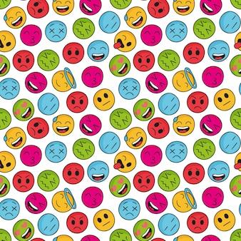 Patrón de emoticonos coloridos decorativos