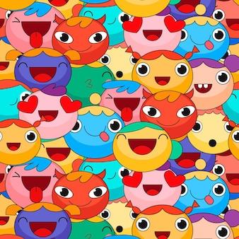 Patrón de emoticonos coloridos diferentes