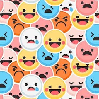 Patrón de emoticonos coloridos de sonrisa y llanto