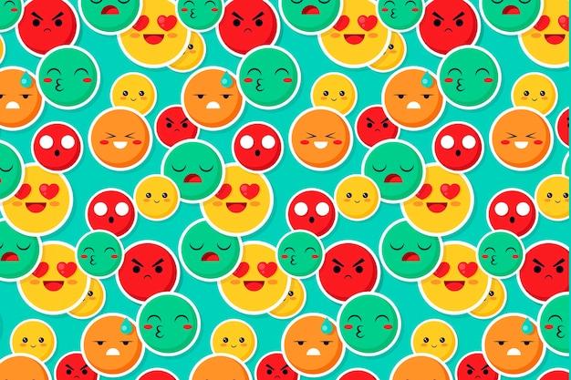 Patrón de emoticonos de sonrisa y beso colorido
