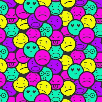 Patrón de emoticonos de sonrisa de colores vivos