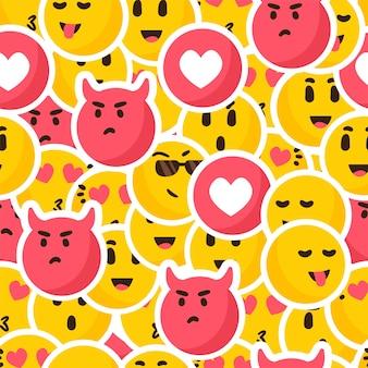 Patrón de emoticonos de sonrisa colorida