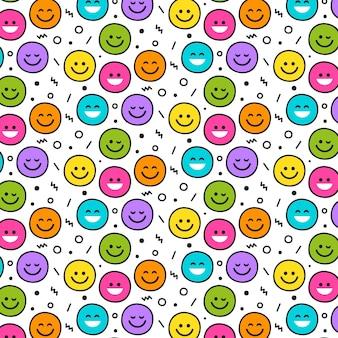 Patrón de emoticonos de sonrisa diferente