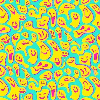 Patrón de emoticonos de sonrisa distorsionada amarilla