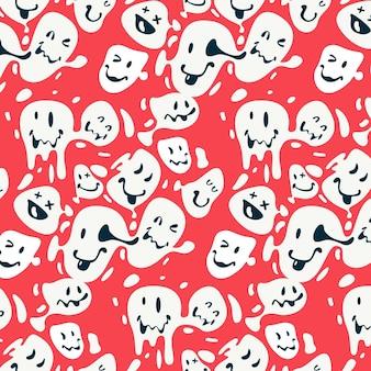 Patrón de emoticonos de sonrisa distorsionada