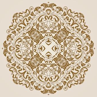 Patrón de encaje redondo ornamental, fondo círculo