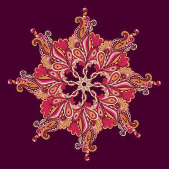 Patrón de encaje redondo ornamental, fondo de vector de círculo