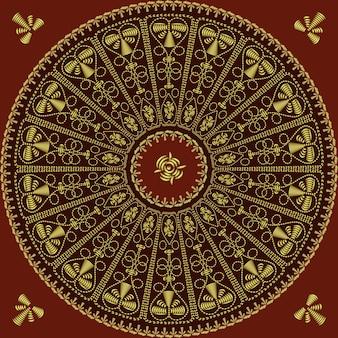 Patrón de encaje vintage redondo tradicional, bordado dorado: rosa, hojas, remolinos sobre un fondo rojo