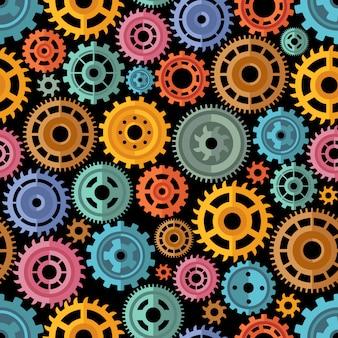 Patrón de engranajes de color de estilo plano
