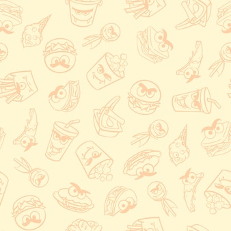 Patrón para envasado de comida rápida con monstruos para halloween. ilustración vectorial.