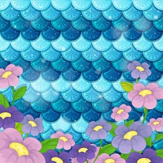 Patrón de escala de sirena de fantasía con muchas flores.