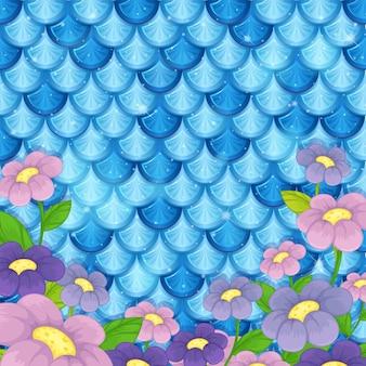 Patrón de escala de sirena con muchas flores.