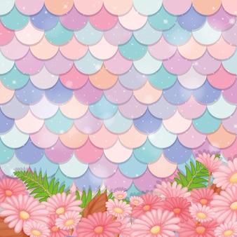 Patrón de escala de sirena pastel con muchas flores.