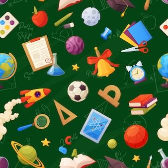 El patrón escolar transparente en el tablero incluye: libros, globo, tableta, lupa, pelota, alarma, regla, matraces, cuaderno, gorra, lista de calificaciones.