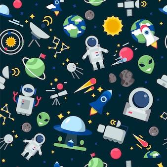 Patrón espacial shuttle rocket astronaut stars planetas interestelares de marte viajan imágenes de dibujos animados sin costuras