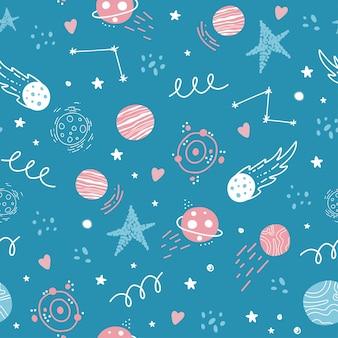 Patrón de espacio sin costuras. cohetes, estrellas, planetas, sistema solar, constelaciones, elementos cósmicos.