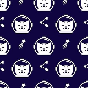 Patrón de espacio sin fisuras con astronautas de gatos lindos