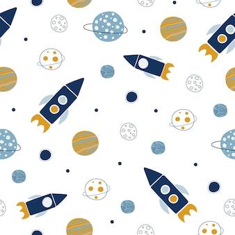 Patrón de espacio sin fisuras. cohetes y planetas.