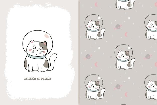 Patrón de espacio lindo gato