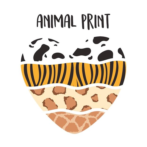 Patrón de estampado animal en forma de corazón, ilustración de vector de letras dibujadas a mano