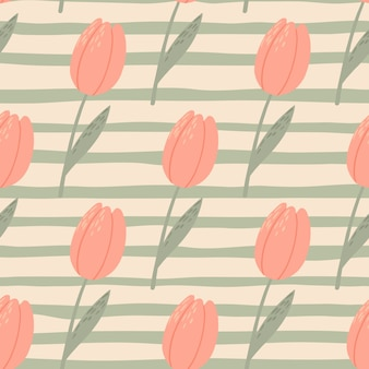 Patrón estilizado transparente pálido con tulipanes rosas. fondo gris pelado. papel pintado botánico vintage