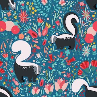patrón de estilo plano con elementos florales de dibujos animados, flores y zorrillos.