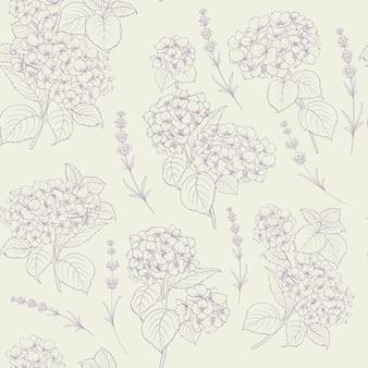 Patrón de estilo shabby chic con hortensias en flor.