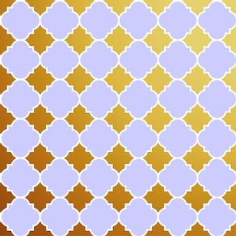 Patrón de estrella arabesco con fondo morado y dorado, ilustración vectorial
