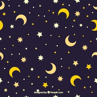 Patrón de estrellas y lunas