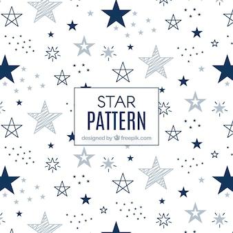 Patrón de estrellas moderno azul y blanco