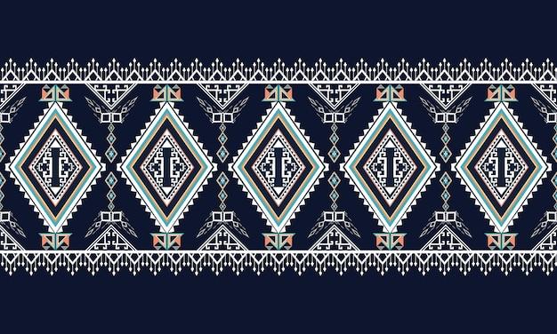 Patrón étnico geométrico alfombra, papel tapiz, ropa, envoltura, batik, tela, estilo de bordado de ilustración vectorial.