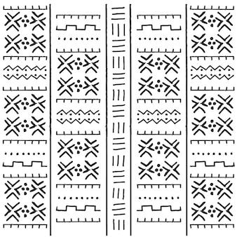 Patrón étnico tribal blanco y negro con elementos geométricos, paño de barro africano tradicional, diseño tribal