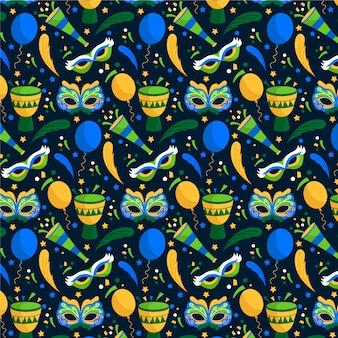Patrón de evento de carnaval brasileño de diseño plano