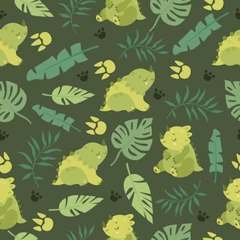 Patrón exótico con dinosaurios.