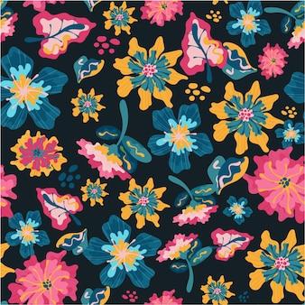 Patrón exótico con flores y hojas.