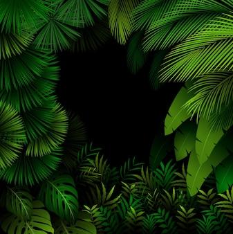 Patrón exótico con hojas tropicales en el bosque oscuro